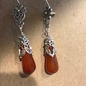 Sterling Silver carnelian Artisan  drop earrings